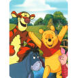 The Winnie the Pooh Hunny Dayz cartoon Mink Blanket measures 60 x 80 inches and comes in a reusable plastic carrying case. It is big enough to cover yourself on your sofa or drape over a twin or full size bed. This blanket features the Disney Friends: Pooh, Eeyore, Tigger & Piglet. It is officially licensed. These blankets are extra warm & plush and have superior durability. Easy Care, machine wash and dry.