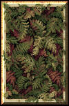 New * Beautiful Fern leaves of various colors, shapes and sizes set in black background are in perfect balance with the Gold & Cream border in this stunning Ann Arbor Rug.